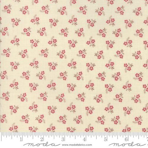 Klassieke French General quiltstof: roze bloemetjes op zacht creme achtergrond.Quiltstof, 100% katoen