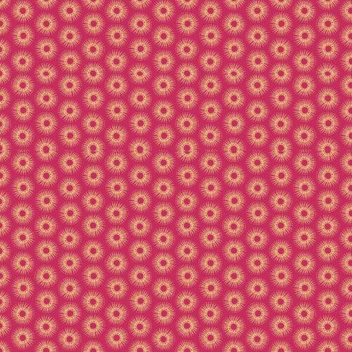 Radiance Doodle Plum 1682/P Makower. Moderne collectie van Henley Studio, rood-paarse stof met gele stippen/cirkels.Quiltstof, 100% katoen, 1.10m breed.