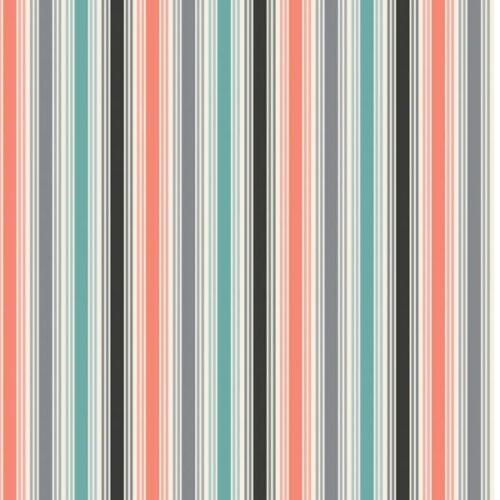 Een moderne quiltstof van atelier 3 Sisters. Rode, grijze, zwarte en blauw-groene strepen. Quiltstof, 100% katoen