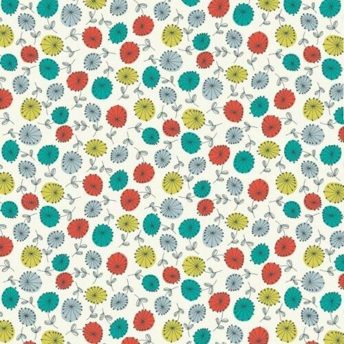 quiltstof die beetje vintage is. Blauw-groene en rode bloemen.Quiltstof, 100% katoen