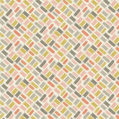 Modern retro Quiltstof met grijze, groene, roze en oranje blokjes. 100% katoen