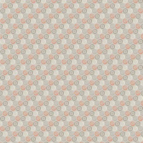 Quiltstof die modern én retro is. Grijze bijna effen stof met roze stippen.Quiltstof, 100% katoen, 1.10m breed.