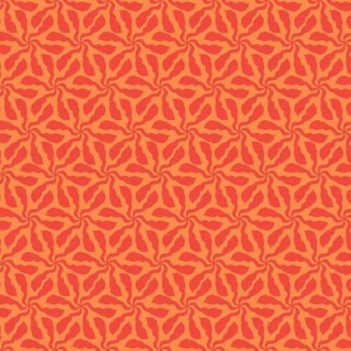 Sundance 1928N Swirly Whirly Makower. Fel oranje stof met abstract blad-motief . Quiltstof, 100% katoen