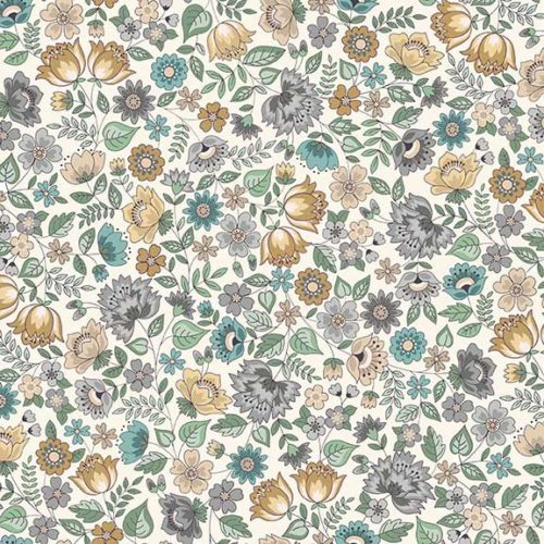 Uitbundige Laura Ashley-achtige bloemenprintjes in een ingetogen, vergrijsde uitvoering. Quiltstof, 100% katoen