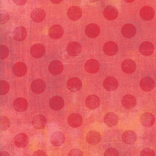 quiltstof van Basic Grey voor Moda Basic. Rode stippen op roze ondergrond. Quiltstof, 100% katoen,