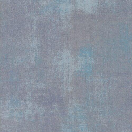 Zilvergrijs effen quiltstof met blauw accent, 100% katoen