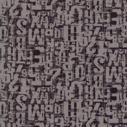 Compositions Number Jumble Char 30453 26. Zwarte achtergrond stof met grote cijfers. Compositions is een ontwerp van Basic Grey voor Moda.Quiltstof, 100% katoen, 1.10m breed.