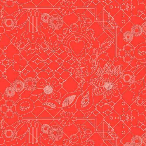 Oranje quiltstof Makower Sun Prints florale prints als bladmotief. Quiltstof, 100% katoen