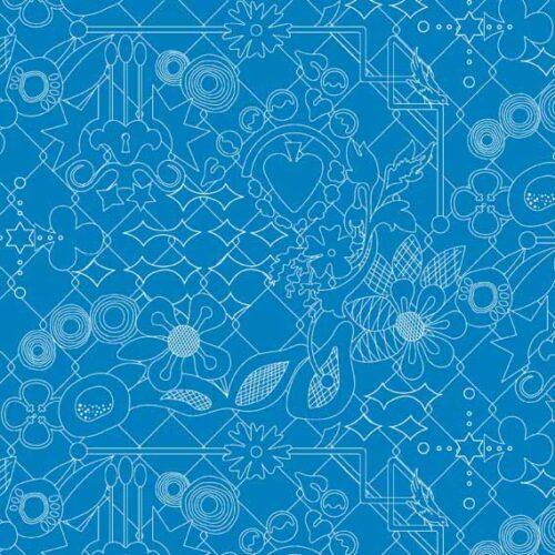 blauwe quiltstof van makower uit Sun Prints, de collectie met maritieme printjes, zoals kompassen en inktvissen