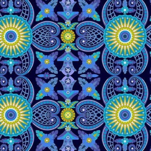 Diving Board 8635B Kraken Abyss van Alison Glass. Moderne blauwe stof met cirkels