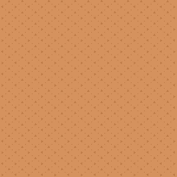 Bijna effen oranje quiltstof. Bijoux 8704o pyramid sweet potato, van Makower. 100% katoen