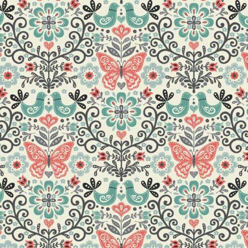 Makower.Een moderne collectie van atelier 3 Sisters. Rode vlinders en vogels op taken en bladeren in een grijs-blauwe tuin. Quiltstof