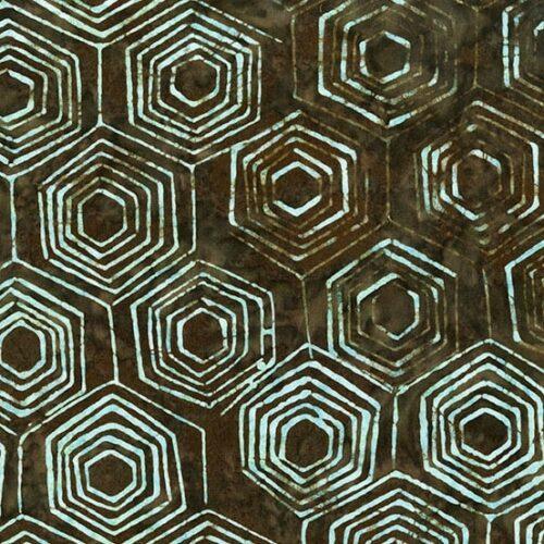 Donkerbruine batik Makower-collectie Splash of Color, ontworpen door Edyta Sitar (Laundry Basket). Quiltstof, 100% katoen