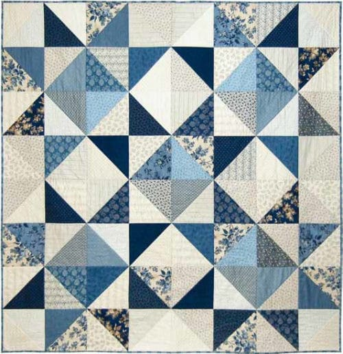 Gratis quilt patroon ontworpen voor de Blue Sky-collectie van Makower door Edyta Sitar van Laundry Basket.