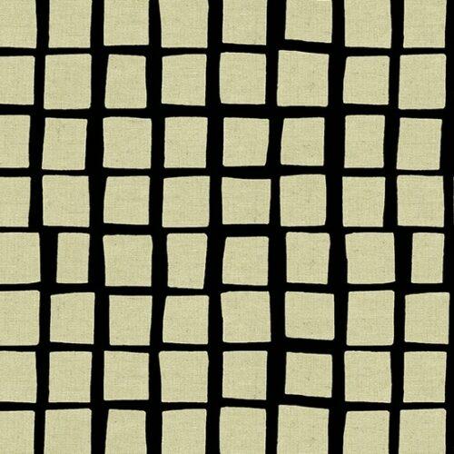 Cremekleurige vlakken op een zwarte achtergrond.Quiltstof, linnen/katoen online bij quiltkompas.