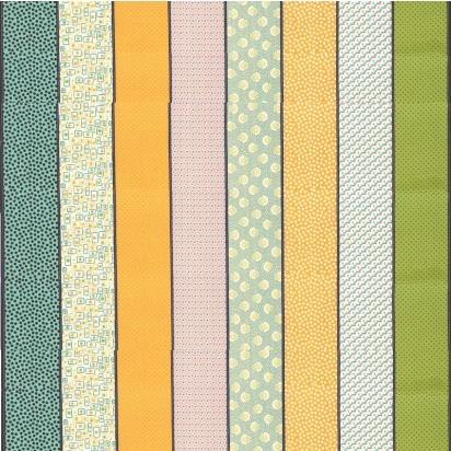 mango 15181 12 Lollies Remix Mango. Moderne veelkleurige stof met strepen van Jen Kingwell. Quiltstof, 100% katoen, van de rol en als fat quarter online bij quiltkompas.