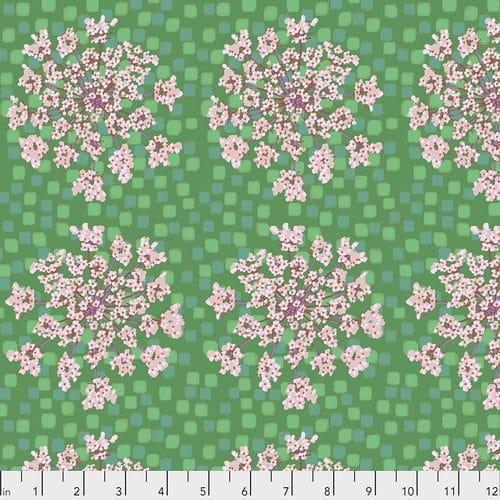 Modern quilt stof Anna Maria Horner groen, bloemen roze
