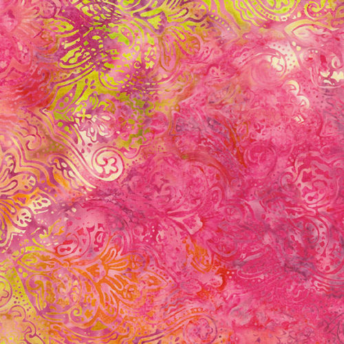 Island Batiks 6/182 Makower. Een overwegend roze batik van Henley Studio. Quiltstof, 100% katoen,