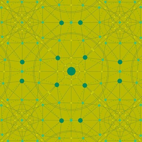 Moderne mosgroene quilt stof met grafisch code motief van ontwerper Giucy Giuce voor Andover.