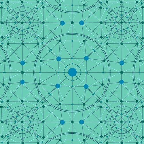 Quiltstof, 100% katoen, groen-blauw grafisch Schematic 9243GL Declassified van ontwerper Giucy Giuce voor Andover.