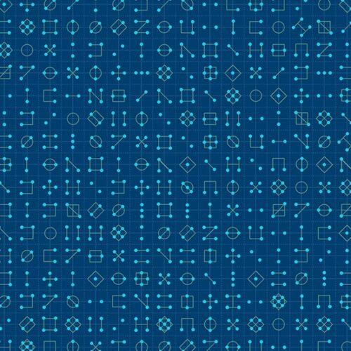 Cipher 9246B Declassified van ontwerper Giucy Giuce voor Andover. Quiltstof, 100% katoen, 1.10 m breed. blauw geometrisch