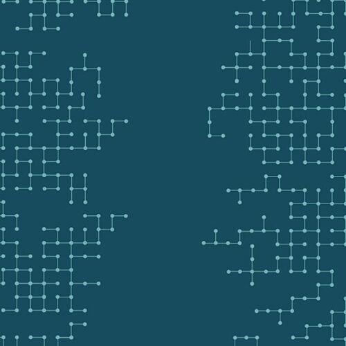 Declassified Giucy Giuce Quiltstof, blauw grafisch motief Andover 100% katoen