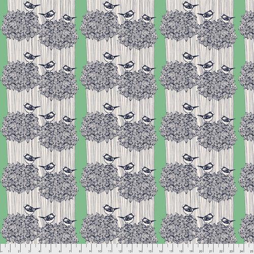 Modern quiltstof Anna Maria Horner vogels grijs groen