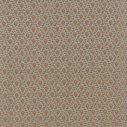Ville Fleurie Roche 13767 13 Moda. Klassieke French General stof: taupe met oranje bloemenmotief quilt stof