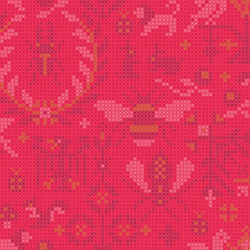 Moderne rood-roze quiltstof sun prints Alison glass