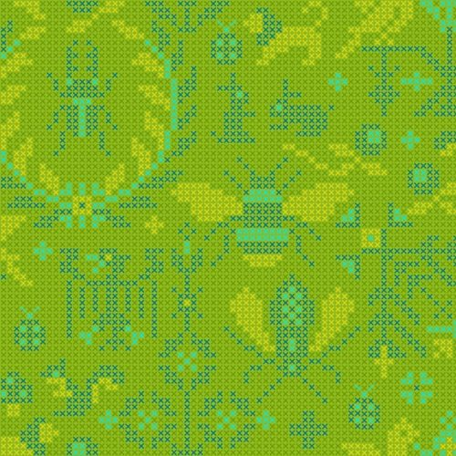 moderne groene quiltstof dieren motief alsof glass makower