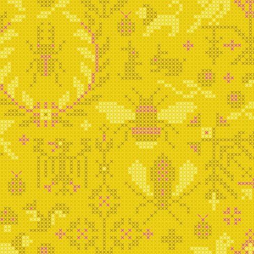 moderne gele quiltstof dieren-motief makower