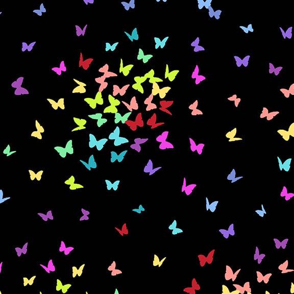 Zwarte moderne quilt stof met vlinders