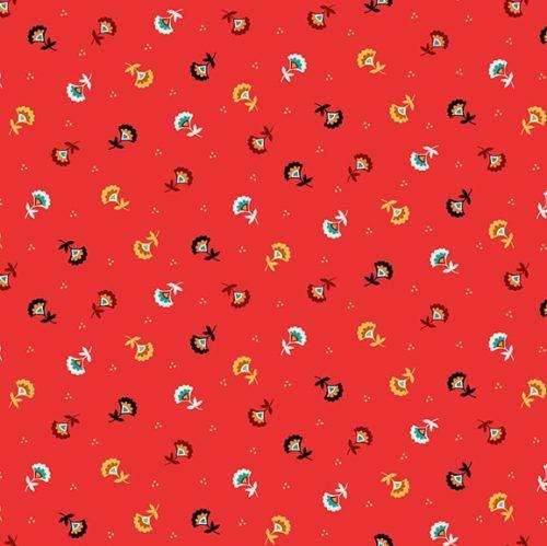 Folk Friends moderne quilt stof rode bloemen