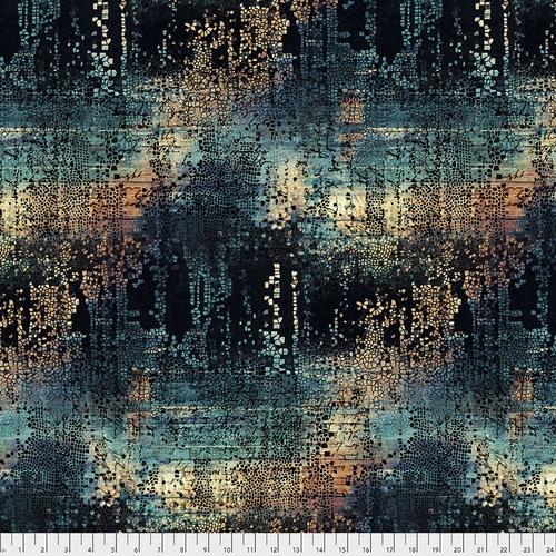 Moderne quiltstof van Tim Holz, donker blauw met gouden veegjes. Online bij Quiltkompas