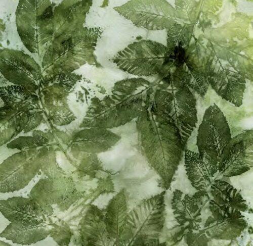katoenen quiltstof donkergroene bladeren