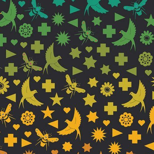 Moderne geel-groen-zwarte quiltstof met patroon van sterren, vogels.Ontwerp van Alison Glass. Quiltstof, 100% katoen,
