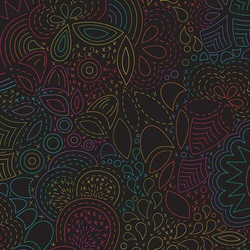 Moderne zwarte quiltstof met vrolijk gekleurd grafisch patroon.Een ontwerp van Alison Glass. Quiltstof, 100% katoen
