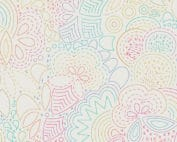Moderne witte quiltstof met kleurrijk grafisch patroon.Een ontwerp van Alison Glass. Quiltstof, 100% katoen,