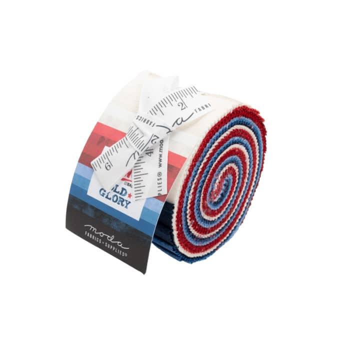 Grunge Junior Jelly Old Glory, bijna effen quiltstoffen in rood-wit-blauw. Quiltstof, 100% katoen.