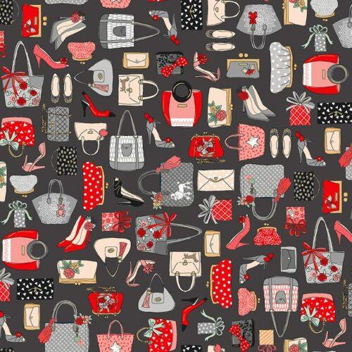 zwart rood modern quiltstof