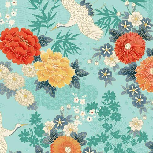 Blauw-groen japans bloemen modern quiltstof