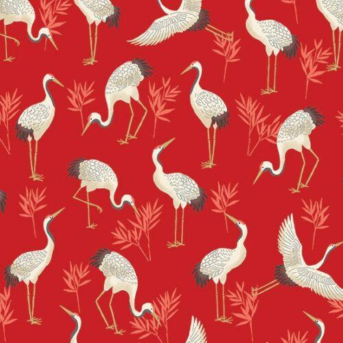 Vogels rood japans modern quiltstof