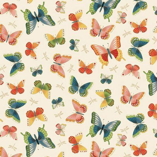 Creme vlinders japans bloemen modern quiltstof