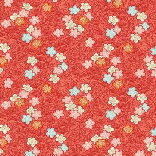 Rood japans bloemen modern quiltstof