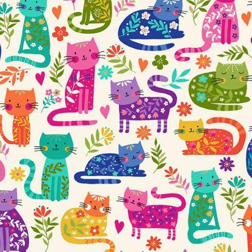 modern dieren katten kinderstof quiltstof