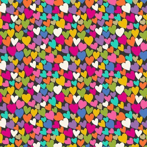 Quiltstof Katie's Cats met veel kleurige hartjes op een zwarte achtergrond.