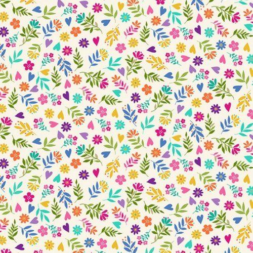 modern wit kleurig bloemen kinderstof quiltstof