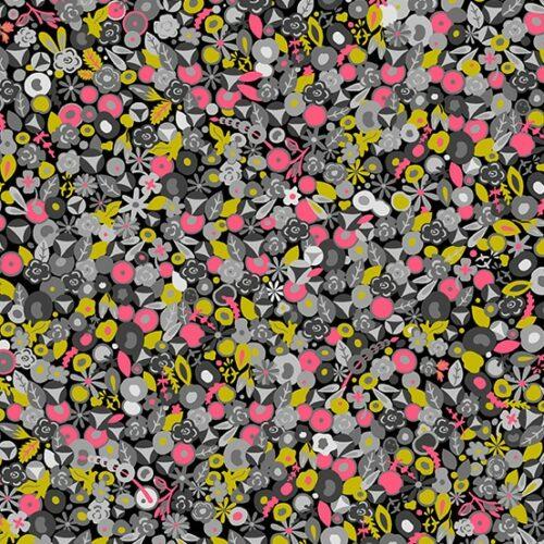 grijs modern roze bloemen quiltstof