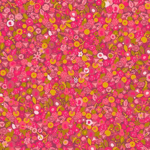 rood roze modern bloemen quiltstof