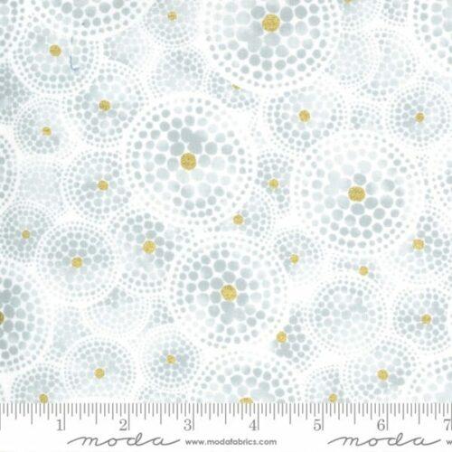 Witte stof met grijze cirkels, grafisch motief, Zen Chic, Dance in Paris, 100% katoen